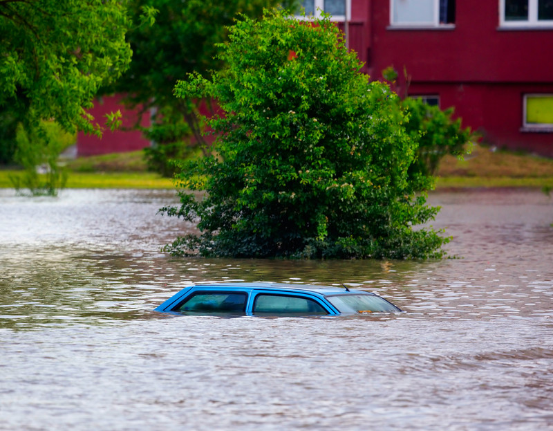Car Submerged in Flood Waters