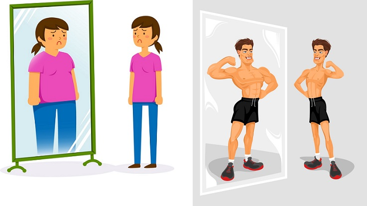 Side by side images of a woman and man looking in a fitness mirror