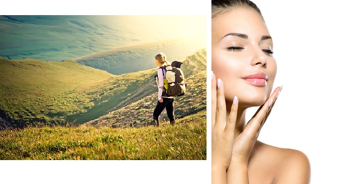 Side by side images of a woman hiking in the mountains and a woman portrait