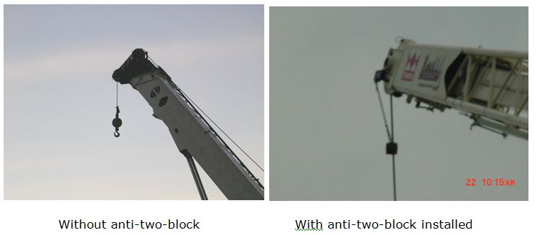 Crane With Anti-Two-Block Installed